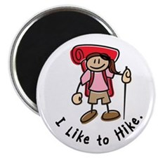I Like To Hike Girl (Red) Magnet