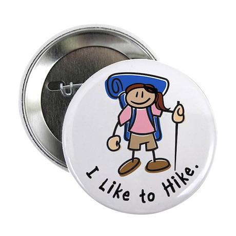 """I Like To Hike Girl (Blue) 2.25"""" Button"""