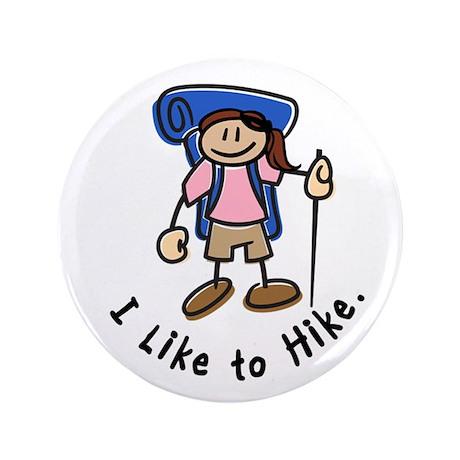 """I Like To Hike Girl (Blue) 3.5"""" Button"""