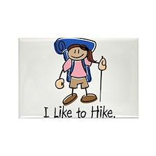 I Like To Hike Girl (Blue) Rectangle Magnet