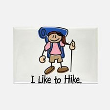 I Like To Hike Girl (Blue) Rectangle Magnet