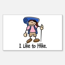 I Like To Hike Girl (Blue) Decal