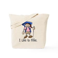 I Like To Hike Girl (Blue) Tote Bag