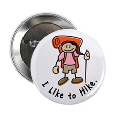 "I Like To Hike Girl (Orange) 2.25"" Button"