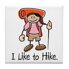 I Like To Hike Girl (Orange) Tile Coaster