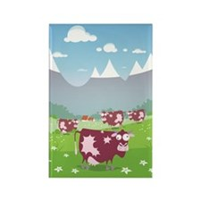 Loony Cows Art Rectangle Magnet