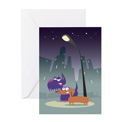 Loony Dogs Art Greeting Card