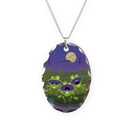 Loony Frogs Art Necklace Oval Charm