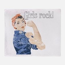 Girls Rock! (vintage) Throw Blanket
