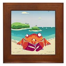 Loony Crab Art Framed Tile