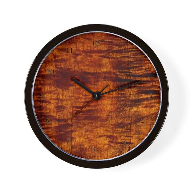 Koa wood wall decor : Hawaiian koa wood wall clock time style by