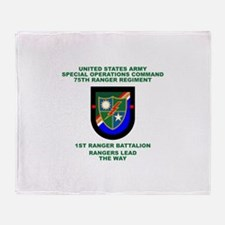 1st Ranger Battalion Flash Throw Blanket
