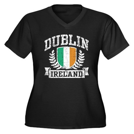 Dublin Ireland Women's Plus Size V-Neck Dark T-Shi
