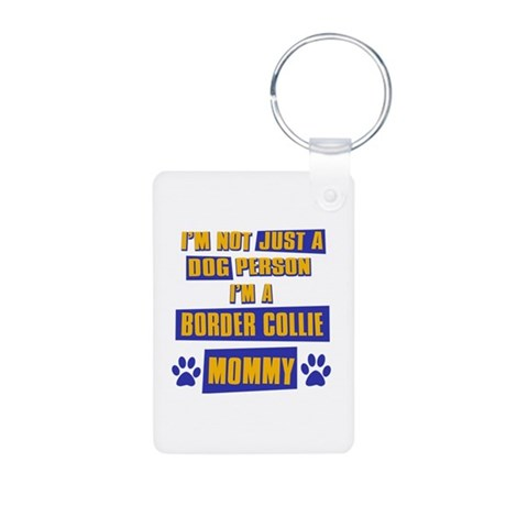 Border collie Mommy Aluminum Photo Keychain