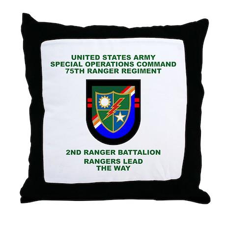 2nd Ranger Battalion Flash Throw Pillow