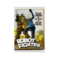 Robot Fighter Fake Pulp Cover Rectangle Magnet