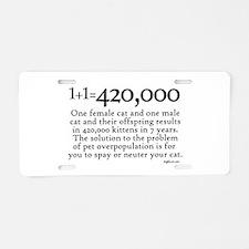 420,000 Cat Overpopulation Aluminum License Plate