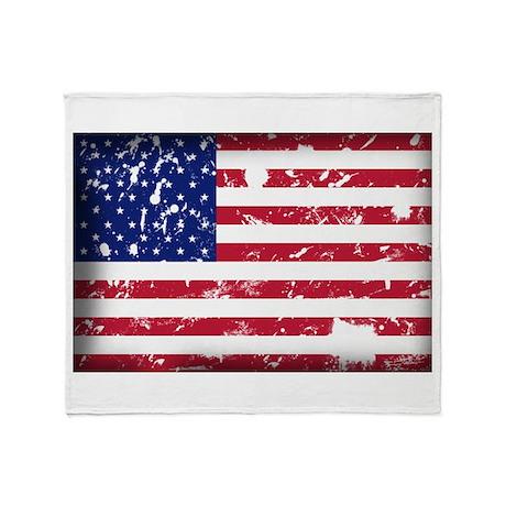 American Flag Grunge Throw Blanket