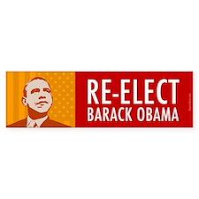 Orange Re-elect Obama Bumper Sticker