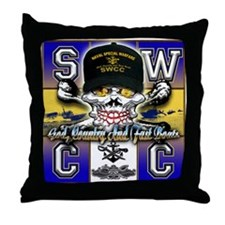 USN SWCC Skull & Bones Throw Pillow