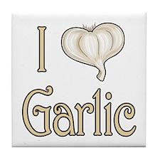I heart garlic Tile Coaster