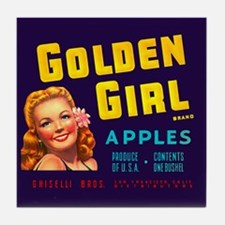 Golden Girl Vintage Label Tile Coaster
