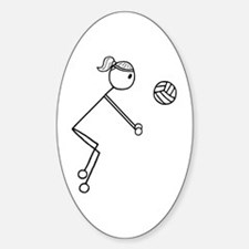 Volleyball Girl Black No Word Sticker (Oval)