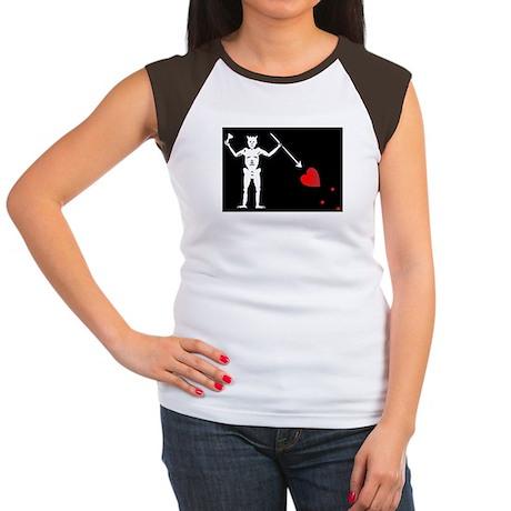 Blackbeard's Pirate Flag Women's Cap Sleeve T-Shir