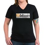 Bitcoins-7 Women's V-Neck Dark T-Shirt