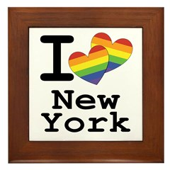 New York Marriage Equality Rainbow Hea Framed Tile