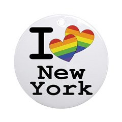 New York Marriage Equality Rainbow Round Ornament