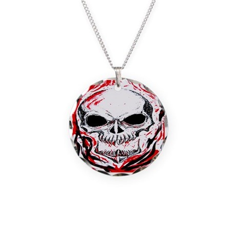 Red Skull Necklace Circle Charm
