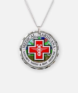 Medical Marijuana Necklace Circle Charm