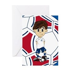 England Soccer Boy Greeting Card