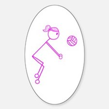 Volleyball Girl Pink Sticker (Oval)