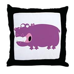 Loony Hippo Throw Pillow