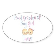 Proud Grandma of Boy Girl Twi Oval Decal