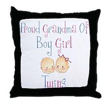Proud Grandma of Boy Girl Twi Throw Pillow