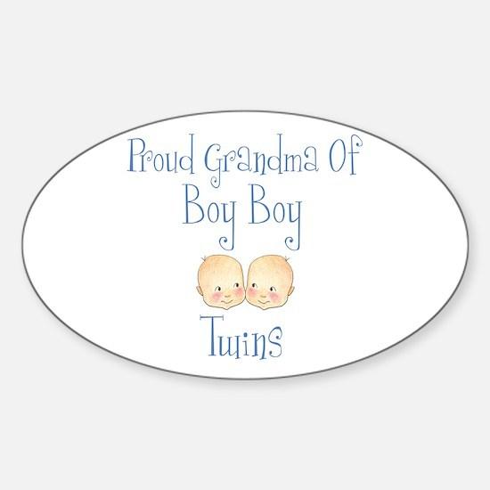 Proud Grandma of Boy Twins Oval Bumper Stickers