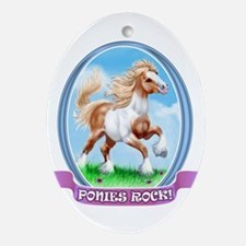 Ponies Rock Oval Ornament