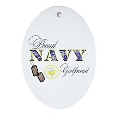 Proud Navy Girlfriend Ornament (Oval)