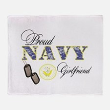 Proud Navy Girlfriend Throw Blanket
