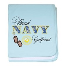 Proud Navy Girlfriend baby blanket