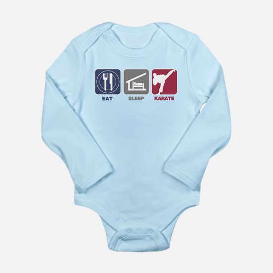 Eat Sleep Men's Karate Long Sleeve Infant Bodysuit