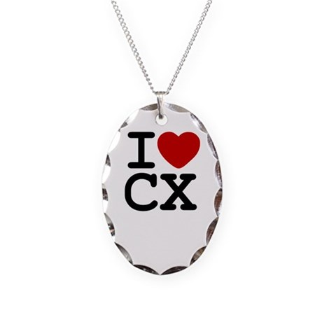 I Heart Cyclocross Necklace Oval Charm