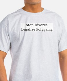 Stop Divorce, Legalize Polyga Ash Grey T-Shirt