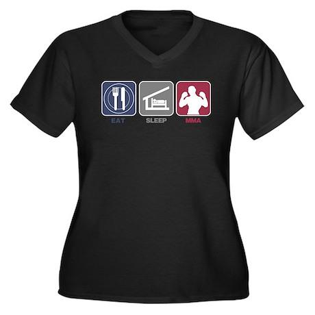 Eat Sleep MMA Women's Plus Size V-Neck Dark T-Shir