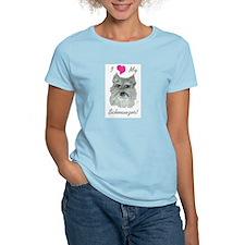I Love My Schnauzer Women's Pink T-Shirt