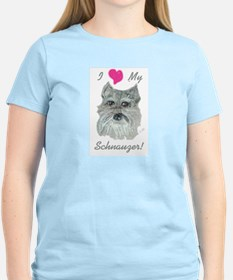 I Love My Schnauzer Women's Pink T-Shirt