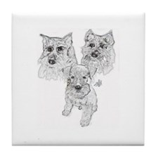 Schnauzer Tile Coaster-Whiskey, Duchess & GoGo